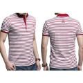 Custom Embroidery Logo Fashion Stripe Wholesale Cotton Polo T Shirt