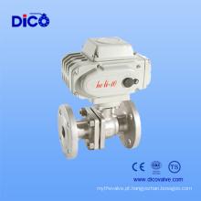 Válvula de esfera de flange de aço inoxidável 2PC com atuador elétrico