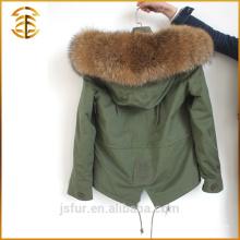 Vente en gros de longues manteaux d'hiver colorés Femmes Faux Fox Fur Parka