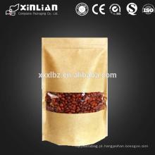 Bolsa para alimentos de qualidade kraft janela / kraft bolsa de papel com janela
