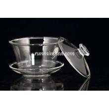 Heat Resistant Big Size Mouth Blown Gaiwan Clear Glass Tea Set
