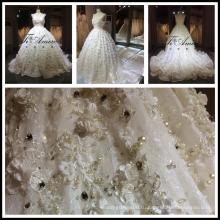 2017 Ближнем Востоке горячие продажа роскошные кружева тяжелая бисероплетение 3Д цветы свадебное платье Tiamero 1A056