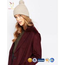 Gorro de malha de cashmere 100% mulher para inverno