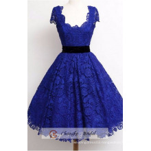 High Quality Navy Blue Prom Dresses Scoop Neckline Lace Princess Ball Gown Party Custom Made