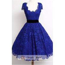 Высокое Качество Темно-Синий Пром Платья Scoop Декольте Кружево Принцесса Бальное Платье Партии Сшитое