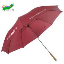 Wine red branded logo prints customized golf umbrellas, 60'' with wooden handle red bull umbrella