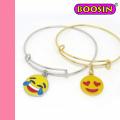 Bracelet en fil plaqué or 18 carats Emoji / Bracelet en cuivre extensible Emoji