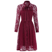 Kate Kasin Women's Vintage Elegant 2pcs Set Long Sleeve A-Line Wine Color Lace Dress KK000494-1