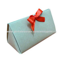 Trinket jewelry box with embossing and red ribbon suit for luxury gift packing