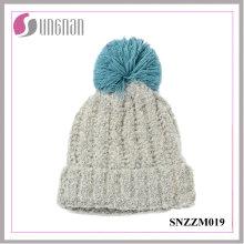 El mejor diseño que espesa la bola de la lana El sombrero hecho punto simple colorido gorra caliente