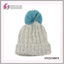 Best Design Thickening Wool Ball Colorful Simple Knitted Cap Warm Hat