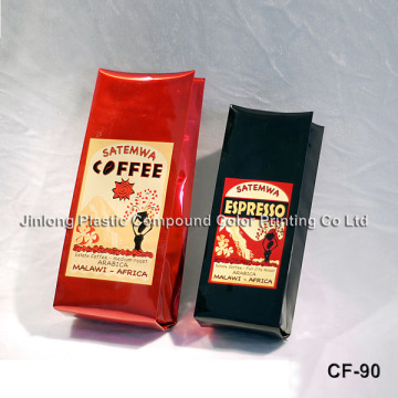 Custom Printed Quad Sealed Plasctic Packaging One Way Valve Coffee Bag