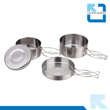 4 Pieces Stainless Steel Camping Cookware Outdoor Kitchen Travel Accessory