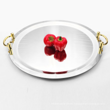 High Quality Mirror Stainless Steel Hotel Food Charge Plate/ Wedding Decorative Food Dishes
