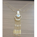New Long Metal Fabric Necklace with Tassel