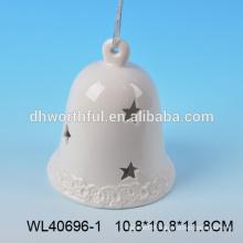 Superior quality ceramic christmas bell,white porcelain christmas bell