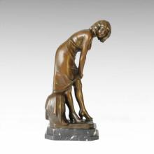 Figura clásica estatua de la señora ligera escultura de bronce TPE-159