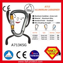 Hot Selling Screw Lock Aluminum Alloy Carabiner With Ce Certificate