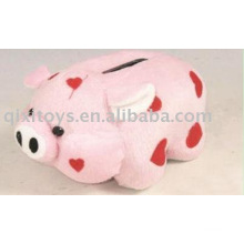 plush and stuffed heart piggy money saving box,animal coin bank