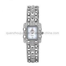 Relógio de quartzo de metal de pulso de cristal de moda OEM com pulseira de metal