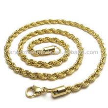 Venta al por mayor de diversos tamaños de acero inoxidable para los accesorios de joyería de collar de cadena chapada en oro de los hombres
