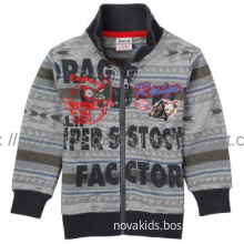 cartoon embroidery  Allover printed  very popular hooded boy coat