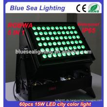 DMX 60pcs 15w rgbwa 5 in 1 IP65 wasserdichtes geführtes Stadtfarbenlicht