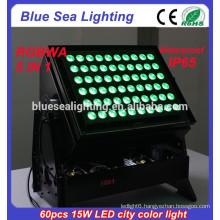 DMX 60pcs 15w rgbwa 5 in 1 IP65 waterproof led city color light