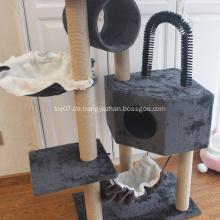 Haustierspielhaus mit Kratzbaum-Sitzstangen-Hängematte