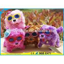 Hot Item Charming Design High Quality Cute Plush Electric Walking Barking Spot Puppies with Popular Glasses