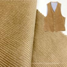 Usine vente chaude kaki 11 wale tissé 100% coton velours côtelé pour gilet pour hommes