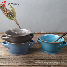Two ears stoneware soup bowl with decal,6 inch round shape ceramic bowl for soup