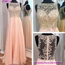 Différentes couleurs v-cou sexy robe de soirée lourde perles