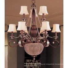 Hotel Europäischer Kronleuchter mit Stoff Lampenschirm (TYD0195010301-6 + 3)