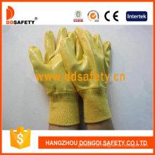 Luvas de revestimento de nitrilo amarelo totalmente, luvas de algodão (dcn323)