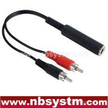 6.35mm Stereo Klinke weiblich zu 2 RCA Stecker männlich Kabel