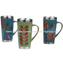 Double-wall Travel Mug, SGS, FDA and CIQ Marks, OEM Orders are Welcome, Various Flower Designs