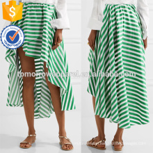 Hot Sale Asymmetric Hem Green And White Striped Cotton Maxi Summer Skirt Manufacture Wholesale Fashion Women Apparel (TA0038S)