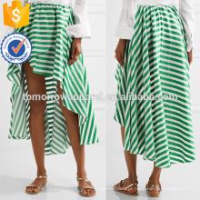 Venda quente Assimétrica Hem Verde E Branco Listrado Algodão Maxi Saia de Verão Fabricação Atacado Moda Feminina Vestuário (TA0038S)