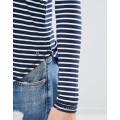 Moda Custom Atacado Supersoft Curve Hem Stripe Mulheres Top