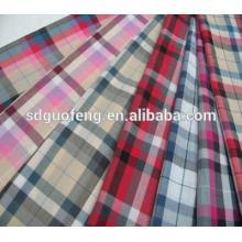 Tecido de algodão penteado orgânico, fio de tecido de algodão jacquard tingido, 100% algodão denim tecido para camisa