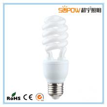 3W 5W meia lâmpada de poupança de energia espiral CFL luz T3