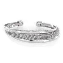 Modernizado prata malha bracelete de metal charme pulseiras