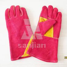 Guante doble de la seguridad de la soldadura del grado Ab / Bc del cuero de la fractura de Palm amarillo con el CE