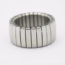 Großhandel aus China-Schmucksache-Fabrik-Edelstahl-elastischem Ring-Silber