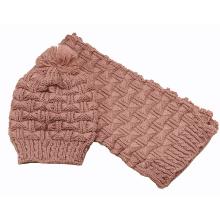 Womens Winter warme Schal Beanie Set Kabel gestrickte Schal (SK163S)
