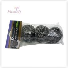 6 * 3cm Houselhold Nettoyage de la cuisine Scrubber Balle de nettoyage en acier inoxydable à récurer