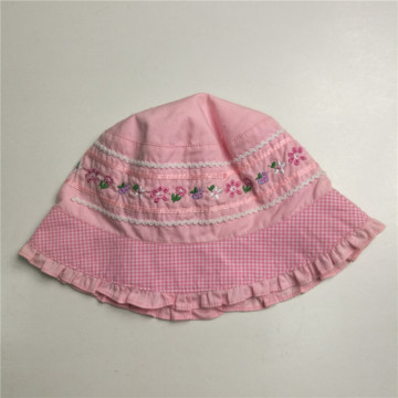 Lace Brim Poplin Embroidery Floppy Hat