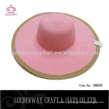 Chapéus de Flota de Verão chapéu de sol de cor de mistura de papel para senhora festa de praia barato novo