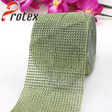Plastic Rhinestone Looking Trimming, Green Colour, 24 Rows